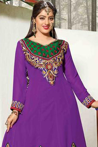 atisundar Archa: Lovely Unstitched Salwar Kameez In Purplke - 4147