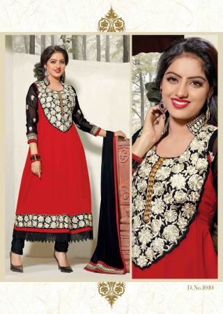 Bewitching Embroidered Anarkali Red Unstitched Salwar Kameez By atisundar - 4150 - atisundar - 2 - click to zoom
