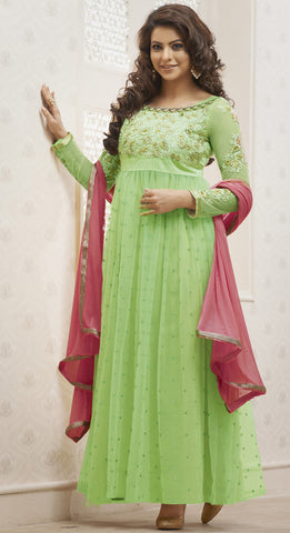 Heeba Party Wear Anarkali Featuring Aamna Sharif:atisundar delightful   in Pista - 5112 - atisundar