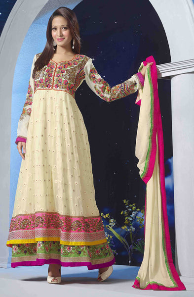 Premium Faux Georgette Party Wear Anarkalis:atisundar pretty 60 Gm Georgette Designer Semi-stitched Party Wear Anarkalis in Cream - 5791 - click to zoom