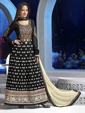 Premium Faux Georgette Party Wear Anarkalis:atisundar marvelous 60 Gm Georgette Designer Semi-stitched Party Wear Anarkalis in Black - 5794 - atisundar - 1 - click to zoom