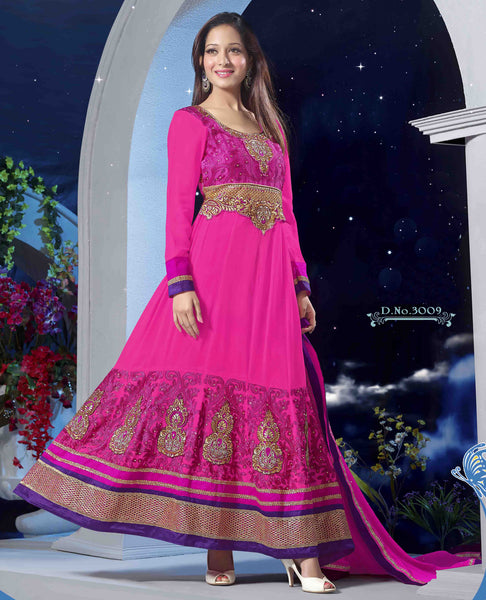 Premium Faux Georgette Party Wear Anarkalis:atisundar wonderful 60 Gm Georgette Designer Semi-stitched Party Wear Anarkalis in Pink - 5798 - atisundar - 2 - click to zoom