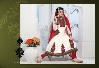 atisundar Trishala: Gorgeous Unstitched Salwar Kameez In White - 3433 - atisundar - 2 - click to zoom