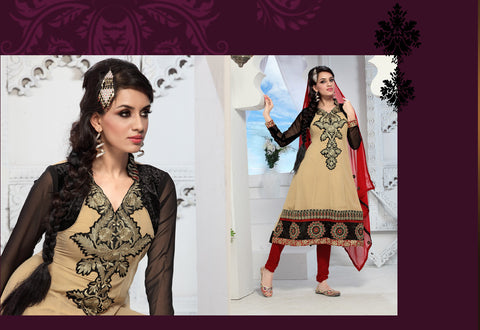 Enticing Embroidery Cream Unstitched Salwar Kameez By atisundar - 3436 - atisundar - 4 - click to zoom