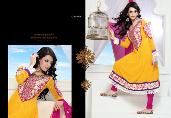 Wonderful Embroidery Yellow Unstitched Salwar Kameez By atisundar - 3434 - atisundar - 3 - click to zoom