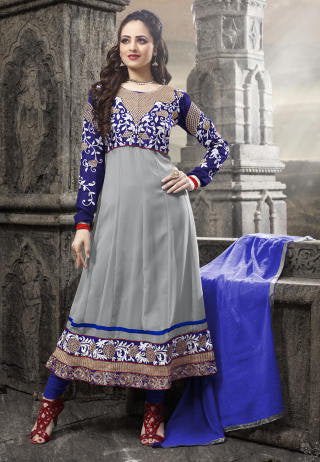 Elegant Collection For Special Occasion:atisundar admirable   in Gray And Blue - 5184 - atisundar - 1 - click to zoom