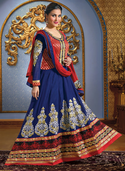 Lara Dutta Collection:atisundar Smart   in Blue And Red - 4965 - atisundar - 2 - click to zoom