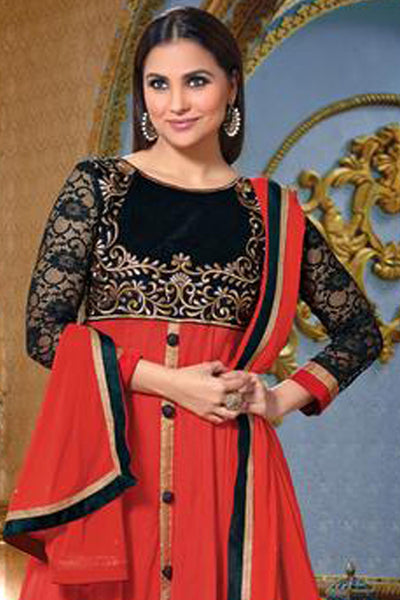 Lara Dutta Collection:atisundar Attractive   in Orange And Black - 4969 - click to zoom