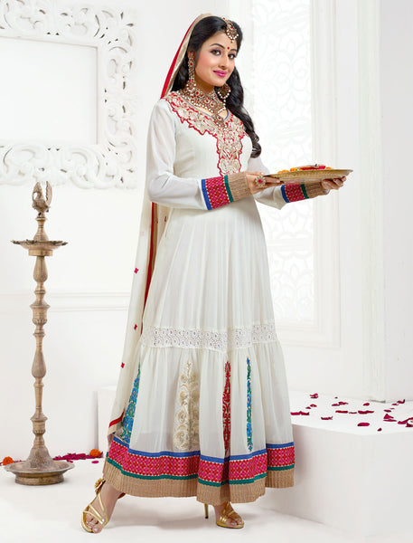 Jodha-Sonal:Classy Embroidered Anarkali White Semi stitched Salwar Kameez By atisundar - 4204 - atisundar - 2 - click to zoom
