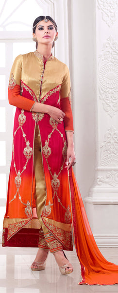 Designer Embroidered Suit:atisundar Lovely Pink And Orange Designer Embroidered Suits - 8689 - atisundar - 2 - click to zoom
