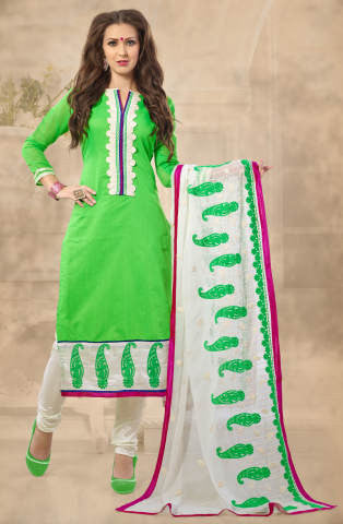Designer Straight Cut!:atisundar marvelous Parrot Green  Embroidered Straight Cut in Chanderi - 7926 - atisundar - 1 - click to zoom