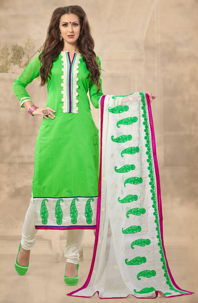 Designer Straight Cut!:atisundar marvelous Parrot Green  Embroidered Straight Cut in Chanderi - 7926 - atisundar - 2 - click to zoom