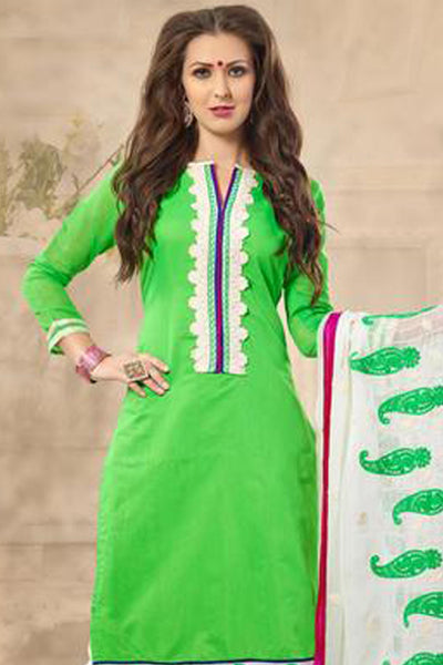 Designer Straight Cut!:atisundar marvelous Parrot Green  Embroidered Straight Cut in Chanderi - 7926 - click to zoom
