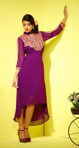 Designer Tops:atisundar charming Faux Georgette Designer Tops in Purple - 8420 - atisundar - 1 - click to zoom