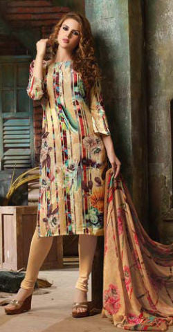 Designer Straight Cut Suit:atisundar appealing Beige Designer Printed Suits - 9443 - atisundar - 1 - click to zoom