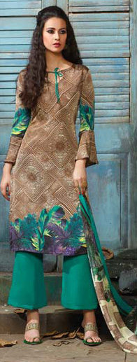 Designer Straight Cut Suit:atisundar radiant Beige Designer Printed Suits - 9447 - atisundar - 2 - click to zoom