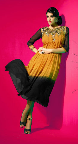 Designer Tops:atisundar pretty Faux Georgette Designer Tops in Black And Orange - 8433 - atisundar - 1 - click to zoom