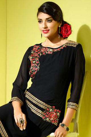 Designer Tops:atisundar wonderful Faux Georgette Designer Tops in Black - 8437