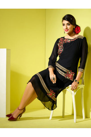 Designer Tops:atisundar fascinating Faux Georgette Designer Tops in Black - 8439