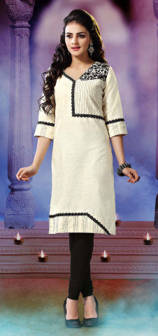 Designer Tops:atisundar Great Khadi Cotton Designer Tops in Off White - 8818 - atisundar - 1 - click to zoom