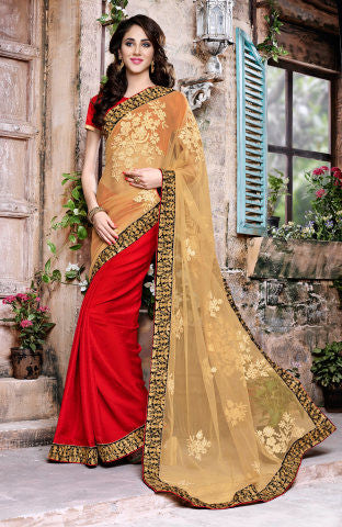 Designer Embroidered Saree:atisundar ravishing Designer Embroidered Party Wear Sarees in Beige  - 8904 - atisundar - 1 - click to zoom