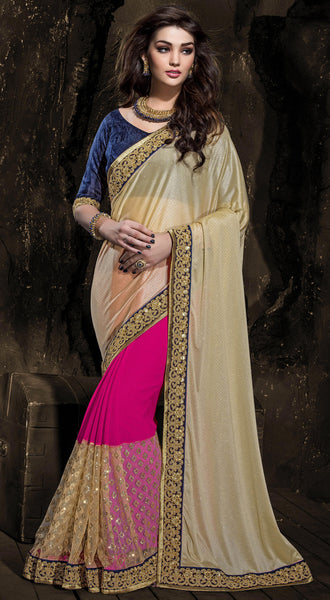 Designer Embroiderd Saree:atisundar comely Designer Embroidered Party Wear Sarees in Pink  - 9024 - atisundar - 2 - click to zoom