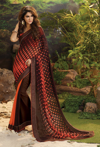 Designer Printed Saree!:atisundar gorgeous Designer Printed Saree in Orange  - 7980 - atisundar - 1 - click to zoom