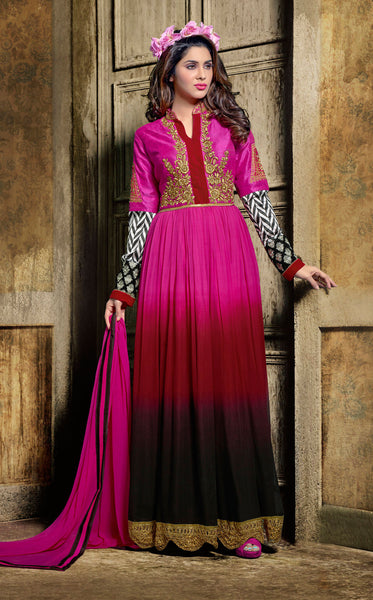 Designer Embroidered Suit:atisundar refined Pink And Maroon And Black Designer Embroidered Suits - 8635 - click to zoom