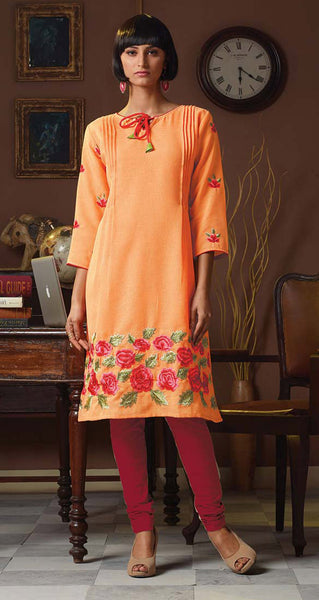 Designer Tops:atisundar Great Poly Linen Designer Tops in Orange - 9167 - atisundar - 2 - click to zoom