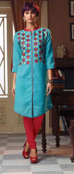 Designer Tops:atisundar Attractive Poly Linen Designer Tops in Sky Blue - 9188 - click to zoom