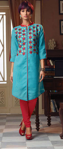 Designer Tops:atisundar Attractive Poly Linen Designer Tops in Sky Blue - 9188 - atisundar - 2 - click to zoom