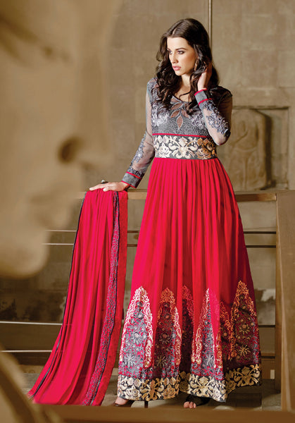 Designer Embroidered Anarkali!:atisundar charming Gray And Pink Anarkali - 8045 - click to zoom