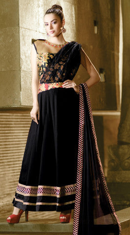 Designer Embroidered Anarkali!:atisundar gorgeous Black Anarkali - 8046 - atisundar - 1 - click to zoom