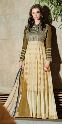Designer Embroidered Anarkali!:atisundar marvelous Green And Beige Anarkali - 8047 - atisundar - 2