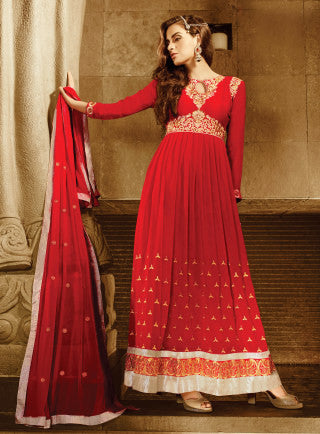 Designer Embroidered Anarkali!:atisundar Beautiful Red Anarkali - 8048 - atisundar - 1 - click to zoom