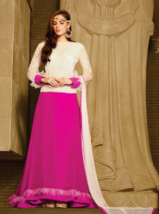 Designer Embroidered Anarkali!:atisundar Lovely Cream And Pink Anarkali - 8049 - atisundar - 1 - click to zoom