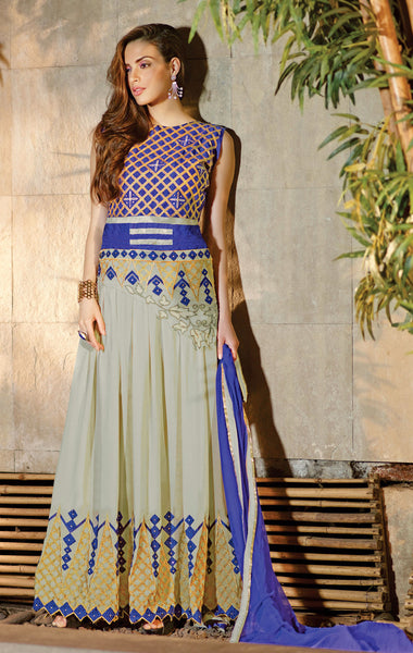 Designer Embroidered Anarkali!:atisundar Charismatic Gray And Blue Anarkali - 8053 - click to zoom