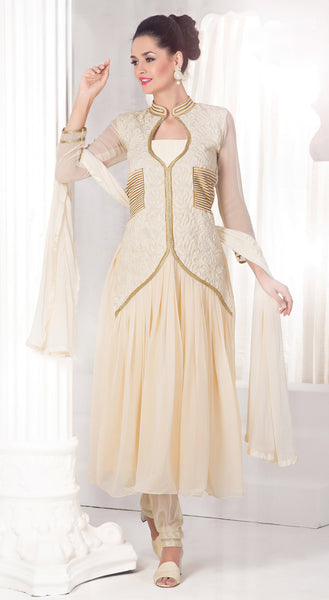 Designer Anarkali:atisundar Superb Off White Anarkali - 8478 - click to zoom