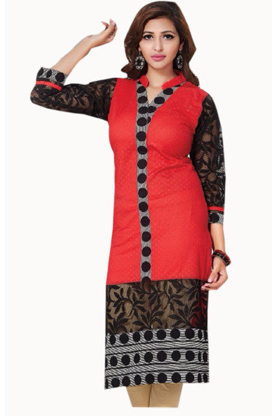 Designer Tops:atisundar Awesome Cotton Designer Tops in Red-8112 - click to zoom