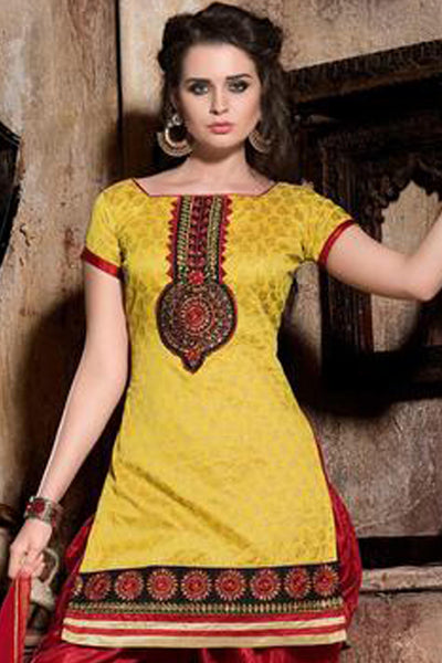 Designer Patiala Suit:atisundar splendid Yellow Designer Patiala Suits - 8247 - click to zoom