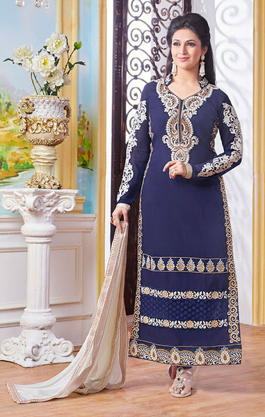 Designer Straight Cut!:atisundar superb Navy Blue Designer Straight Cut  - 7932 - atisundar - 2 - click to zoom