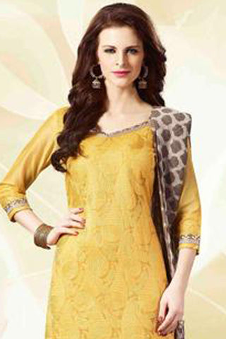 Designer Straight Cut!:atisundar superb Yellow Designer Straight Cut  - 8185