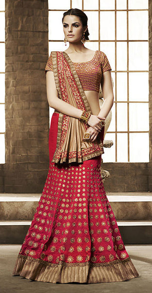 Designer Embroidered Lehenga:atisundar wonderful Gota Lehenga in Red - 8513 - atisundar - 2 - click to zoom