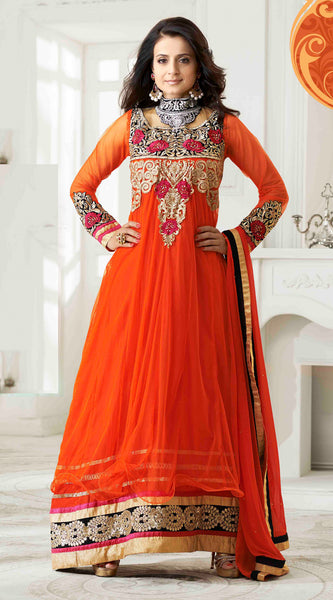 Designer Anarkali!:atisundar superb Orange Embroidered Anarkali - 8653 - click to zoom