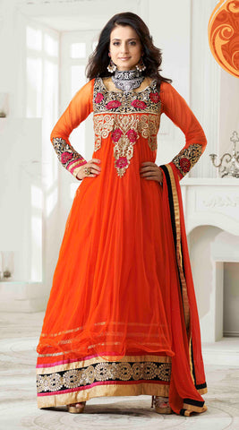 Designer Anarkali!:atisundar superb Orange Embroidered Anarkali - 8653 - atisundar - 2 - click to zoom