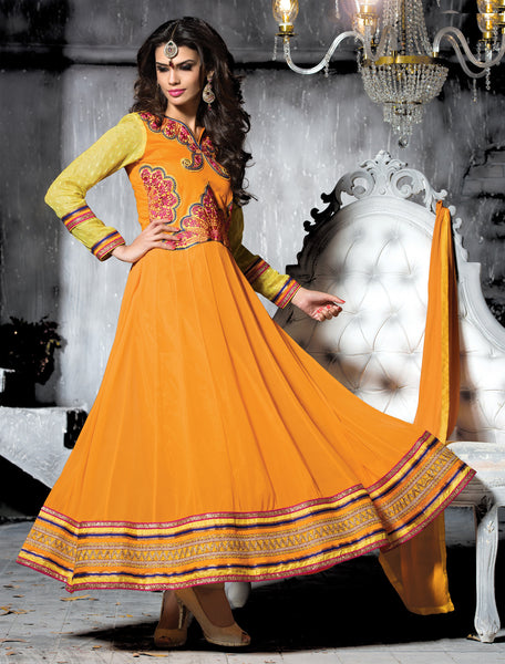 Embroidered PartyWear Anarkali:atisundar graceful Orange Designer Embroidered Anarkali - 7060 - atisundar - 3 - click to zoom