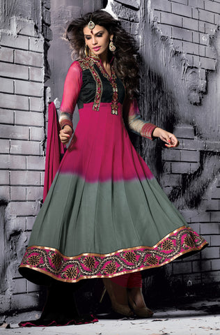 Embroidered PartyWear Anarkali:atisundar Charismatic Gray And Pink Designer Embroidered Anarkali - 7061 - atisundar - 3 - click to zoom