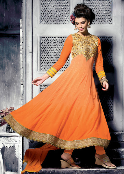 Embroidered PartyWear Anarkali:atisundar wonderful Orange Designer Embroidered Anarkali - 7066 - atisundar - 3 - click to zoom