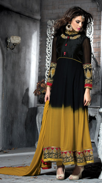 Embroidered PartyWear Anarkali:atisundar pretty Black And Musturd Designer Embroidered Anarkali - 7067 - atisundar - 3 - click to zoom