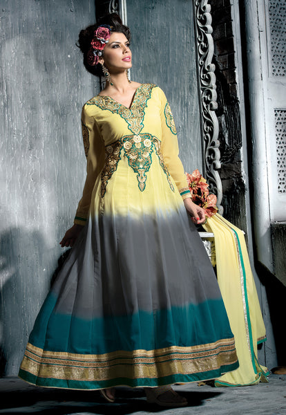 Embroidered PartyWear Anarkali:atisundar Charismatic Cream And Gray Designer Embroidered Anarkali - 7068 - atisundar - 3 - click to zoom